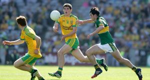 Donegal's Stephen McBrearty in the All-Ireland minor final in 2014 against Kerry. The assimilation of younger players like McBrearty into the Donegal senior team has caught the eye. Photograph: INPHO