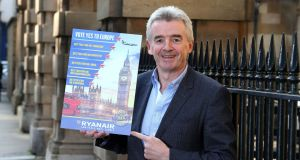 "Ryanair of CEO Michael O'Leary:  said he would ""plaster his planes"" with anti-Brexit messages.  Photograph: Ryanair/PA Wire"