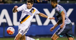 Los Angeles Galaxy midfielder Steven Gerrard during the second half of a CONCACAF Champions League soccer quarterfinal last week. Photograph: Ringo H.W. Chiu/AP