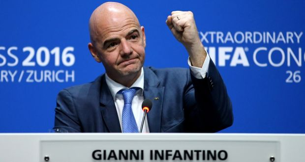 The New Fifa President Gianni Infantino Gestures During A Press Conference After The Extraordinary Fifa Congress