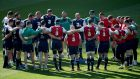 Rory Best speaking in the huddle. Photograph: Dan Sheridan/Inpho