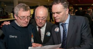 Fine Gael tallymen Liam Fahy, John McHugh and Tom Garvey  at the Castlebar count centre. Photograph: Michael Mc Laughlin