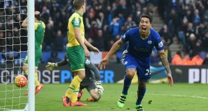Leonardo Ulloa celebrates after scoring the winner for Leicester City. Photo: Alan Walter/Reuters