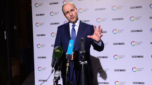 Micheál Martin arriving for the RTÉ Prime Time Leaders' Debate. Photograph: Dara Mac Dónaill
