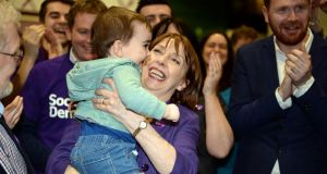 Róisín Shortall of the Social Democrats celebrates with her grand-nephew Dara Baxter (2) after being elected in the Dublin North-West constituency. Photograph: Eric Luke/The Irish Times.