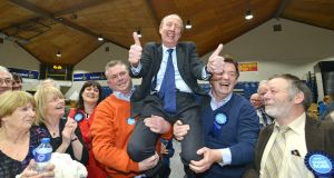 Independent candidate Shane Ross celebrates being elected in the Dublin Rathdown constituency. He was the first TD elected in the State in the general election. Photograph: Barbara Lindberg