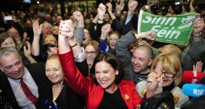 Sinn Féin's deputy leader Mary Lou McDonald celebrates  winnining her seat in Dublin Central. Photograph: Aidan Crawley/EPA
