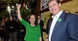 Green Party deputy leader Catherine Martin celebrates winning a seat for the party in the Dublin Rathdown constituency with Green leader Eamon Ryan. Photograph: Eric Luke/The Irish Times.