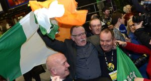 Sinn Féin Dublin North-West candidate Dessie Ellis celebrates in advance of the anticipated election result at the RDS. Photograph: Dave Meehan/The Irish Times