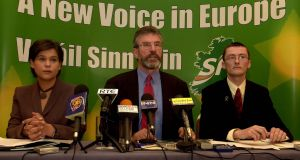 Gerry Adams,  Mary Lou McDonald and  David Cullinane at an EU election press conference in 2004