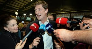 Green Party leader Eamon Ryan  at the count centre in the RDS after his election. Photograph: Eric Luke/The Irish Times