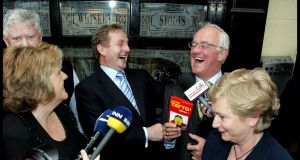 Enda Kenny shares a joke with actor Frank Kelly watched by his wife Fionnuala and Frances Fitzgerald. Photograph: David Sleator/The Irish Times