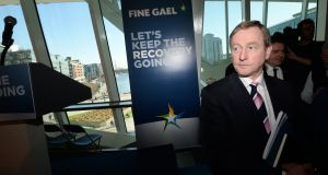 Enda Kenny at the final Fine Gael press conference before the election  Photograph: Dara Mac Donaill