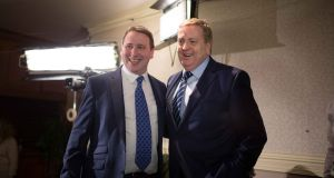 Joe Carey TD with Pat Breen TD at the Co Clare General Election count in the Falls Hotel, Ennistymon.. Photograph by Eamon Ward