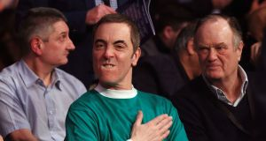 Actor James Nesbitt watches the super-bantamweight title unification bout between Carl Frampton and Scott Quigg   at Manchester Arena. Photograph:  Nick Potts/PA Wire