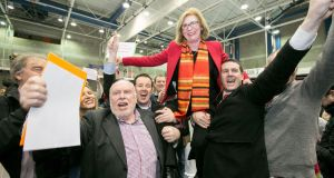 Jan O' Sullivan celebrates after taking one of the remaining two seats in Limerick City. Photograph:  Brian Gavin Press 22