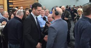 Sinn Féin TD Pearse Doherty is interviewed after his re-election to the Dáil for the Donegal constituency. Photograph: Gerry Moriarty.