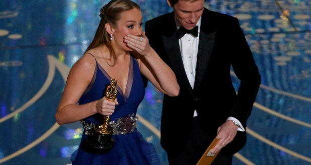 Brie Larson and Leonardo Di Caprio win best actor Oscars