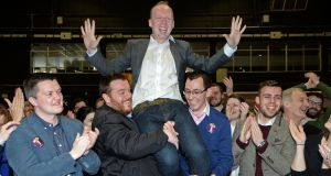 Noel Rock after his election  in Dublin North West at the count centre in the RDS. Photograph: Eric Luke / The Irish Times