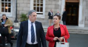 Sinn Féin duputy leader Mary Lou McDonald with Aengus Ó Snodaigh at Leinster House
