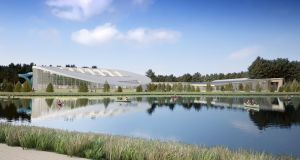 Artist's impression of the  planned Center Parcs   resort at Newcastle Wood, Co Longford -  a subtropical swimming pool viewed from a lake. File photograph: Center Parcs/PA Wire