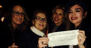 From left,  Lisa Tierney-Keogh, Meryl Streep,  Christine Baranski and Laoisa Sexton with their WTF message of support in Brooklyn in  November 2015