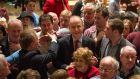 Up for the count: Micheál Martin celebrates his re-election in Cork. Photograph:  Michael Mac Sweeney/Provision