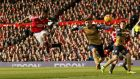 Manchester United striker  Marcus Rashford heads home to score his second goal in the Premier League game against Arsenal at Old Trafford. Photograph:  Jason Cairnduff/Action Images via Reuters/Livepic