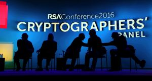 Cryptographers wait for their panel to begin at the RSA Conference, a major annual gathering of computer security experts, in San Francisco.
