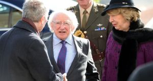 President Michael D Higgins and his wife Sabina attend the funeral of Frank Kelly.  Mr Higgins paid tribute to 'the distinguished actor who made such a wide and valued contribution both on the stage and in film'.Photograph: Eric Luke/The Irish Times