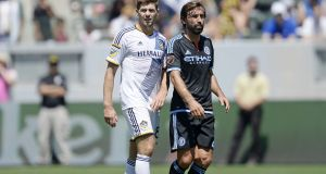 Steven Gerrard of Los Angeles Galaxy and  Andrea Pirlo  of New York City FC make all the right noises about the standard of play. Photograph: Getty Images