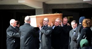 Final journey: Funeral of Frank Kelly, the actor who became best known for his role as Fr Jack Hackett in Fatherr Ted, taking place in Blackrock, Co Dublin. Photograph: Eric Luke/The Irish Times