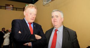James Bannon and Willie Penrose at the Longford-Westmeath election count in Kenagh, Longford. Photograph: Michelle Ghee.