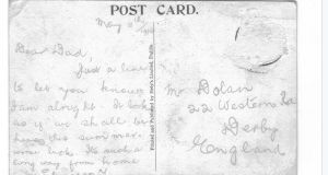 And the rear of the postcard with a brief salutation