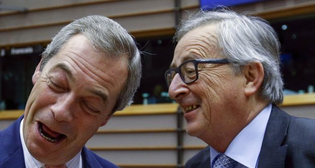"Nigel Farage (left), Britain's UK Independence Party (UKIP) leader and European Commission President Jean Claude Juncker (right) take part in a plenary session at the European Parliament on the outcome of the ""Brexit"" summit, in Brussels last month. Photograph: Yves Herman/ Reuters"