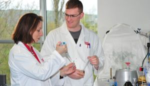 Richard Lally with Dr Rosemary O'Hara at Carlow IT's enviroCORE (Centre of Research and Enterprise in BioEnvironmental Technologies) research centre