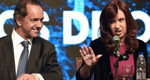 Former Argentine president Cristina Kirchner: Due in court over sale of dollar future contracts. Photograph: Eitan Abramovich AFP/Getty Images
