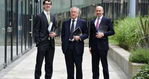 Pictured at the Hibernia Reit AGM in Dublin today last year [ from left to right]: Tom Edwards Moss CFO , Daniel Kitchen chairman and Kevin Nowlan chief executive. Photograph: Aidan Crawley