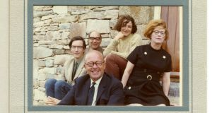 August 1969, outside Richard Murphy's renovated cottage near Westport, Co Mayo. Murphy is on the left, beside Philip Larkin. Monica Jones, the poet's muse and mistress,on the right. At the front is Charles Monteith of Faber, his publisher, and at the rear is Emily Murphy, daughter from Murphy's marriage to Patsy Strang, now dissolved