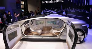 A driverless car from Mercedes-Benz on display at a Consumer Electronics Show.  Photograph: str/afp/getty images