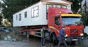 A  mobile home is  removed from the Travellers' site at Woodland Park, Dundalk in January. Photograph: Eric Luke/The Irish Times