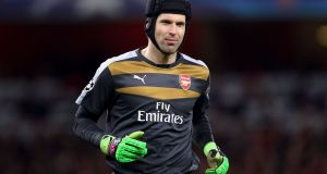 Arsenal goalkeeper Peter Cech will miss the north London derby with Tottenham Hotspur with a calf strain. Photograph:   Adam Davy/PA Wire