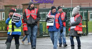 Cadbury's qworkers  on the picket line this afternoon at the Cadbury factory in Coolock, Dublin. Photograph: Colin Keegan, Collins Dublin
