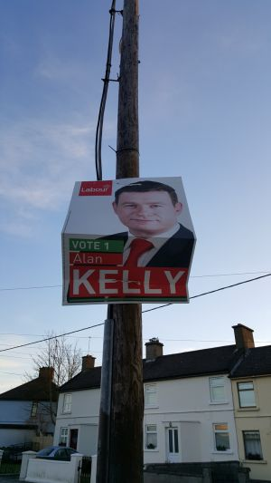 An Alan Kelly poster remains up in Thurles, Co Tipperary. Photograph: Katie O'Toole