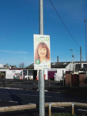 A poster for the Green Party candidate Donna Cooney in Howth, Dublin. Photograph: Stephen Ray