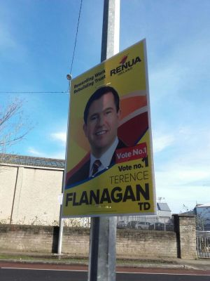 Also in Howth, a poster for outgoing TD Terence Flanagan. Photograph: Stephen Ray