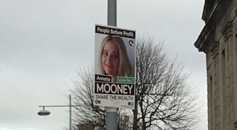 An AAA-PBP poster on Pearse Street, Dublin, on Saturday. Photograph: Dominic Coyle