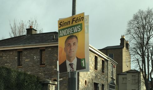 A Sinn Fein poster on Dartmouth Road, Dublin. Photograph: Dominic Coyle