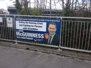 A poster remains on a gate outside Clonsilla train station. Photograph: Eithne Donnellan