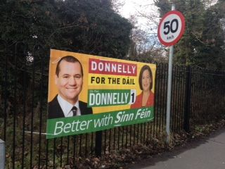 Also outside Clonsilla Train station, a poster for Sinn Féin. Photograph: Eithne Donnellan